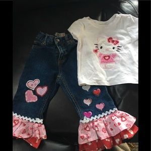 Hello Kitty Valentines Day Outfit Size 12-18 mon